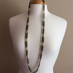 """Jewelry - NWOT, Brown and Gold tone necklace, 36"""" long"""